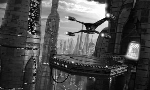 science-fiction scene with starship aircraft and futuristic city
